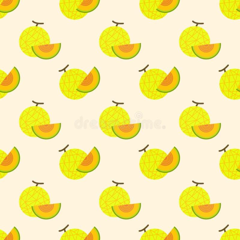 Melone variopinto della rete della frutta tropicale di immagine di sfondo senza cuciture illustrazione vettoriale