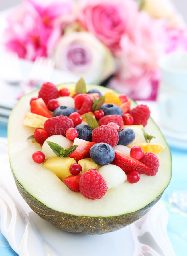 MeloneFruchtsalat stockbild