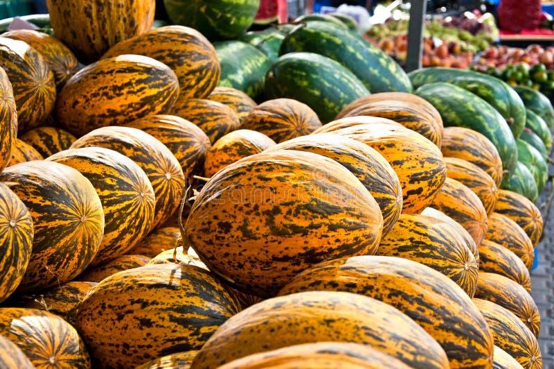 Melonen und Wassermelonen im Markt stockfoto