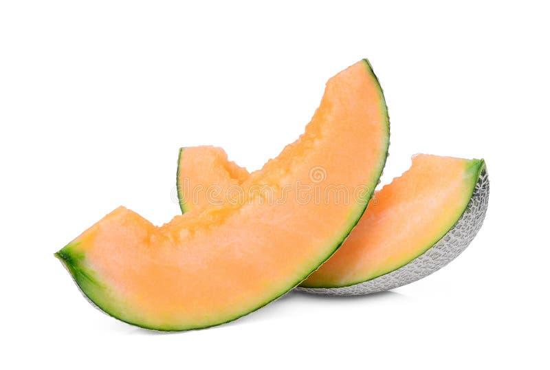 Meloni giapponesi affettati, melone verde o melone del cantalupo immagini stock libere da diritti