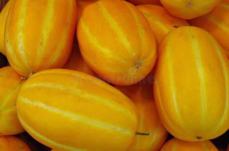Meloni a strisce asiatici di giallo arancio immagine stock libera da diritti