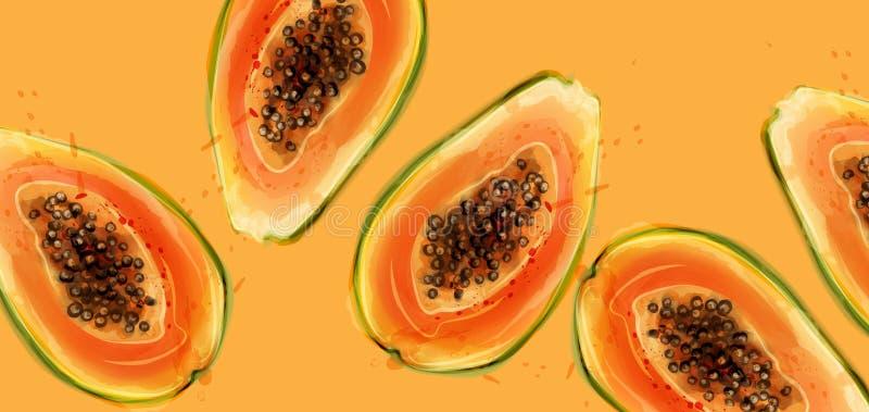Melonowiec owoc wektoru akwarela Lato ?wiezi soczy?ci sztandary ilustracja wektor