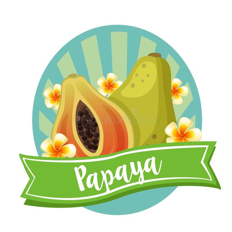 Melonowiec przylepia etykietkę egzotyczną owoc ilustracji