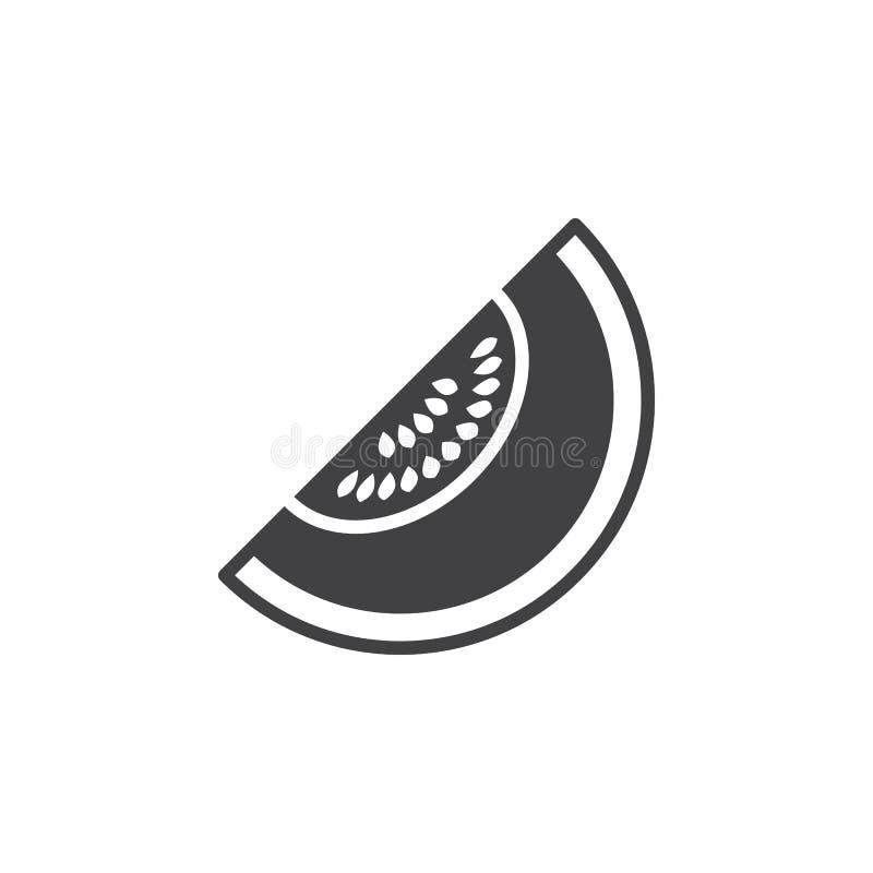 Melonowy ikona wektor, wypełniający mieszkanie znak, stały piktogram odizolowywający na bielu, royalty ilustracja