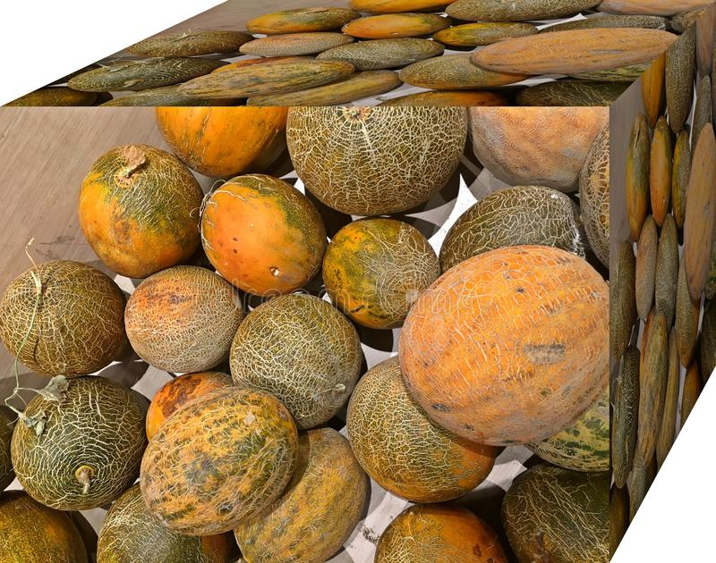Melons. For sale in the market.  Natural fruits, natural vitamins. Melons. For sale in the market. Natural fruits, natural vitamins. Cubic form. 3D and Cubism royalty free stock photos