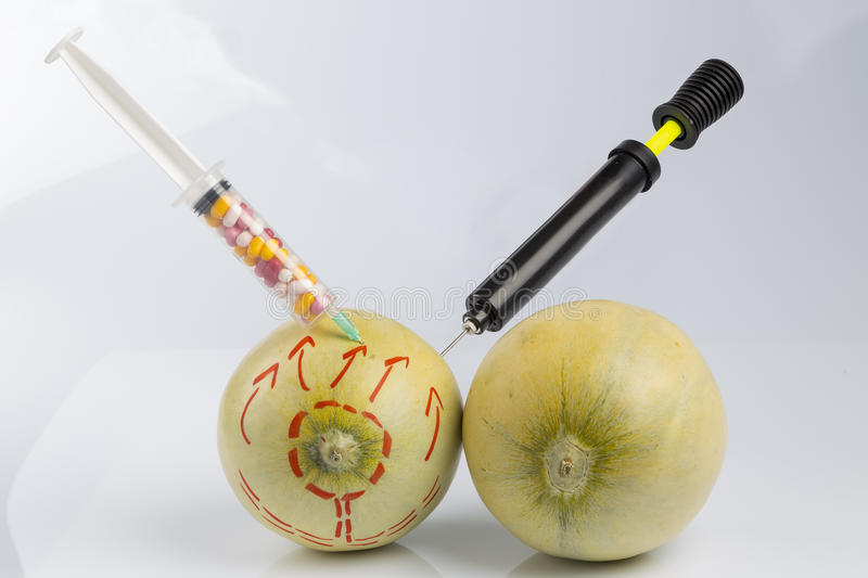 Melons, syringe with pills and bicycle pump. Cosmetic treatment for Female breasts metaphor: melons with perforation lines while air pumped by bicycle pump and royalty free stock photography