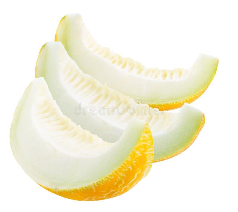 Melonskivor som isoleras på en vit bakgrund arkivbild