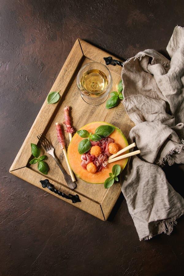 Melonu i baleronu sałatka zdjęcie stock