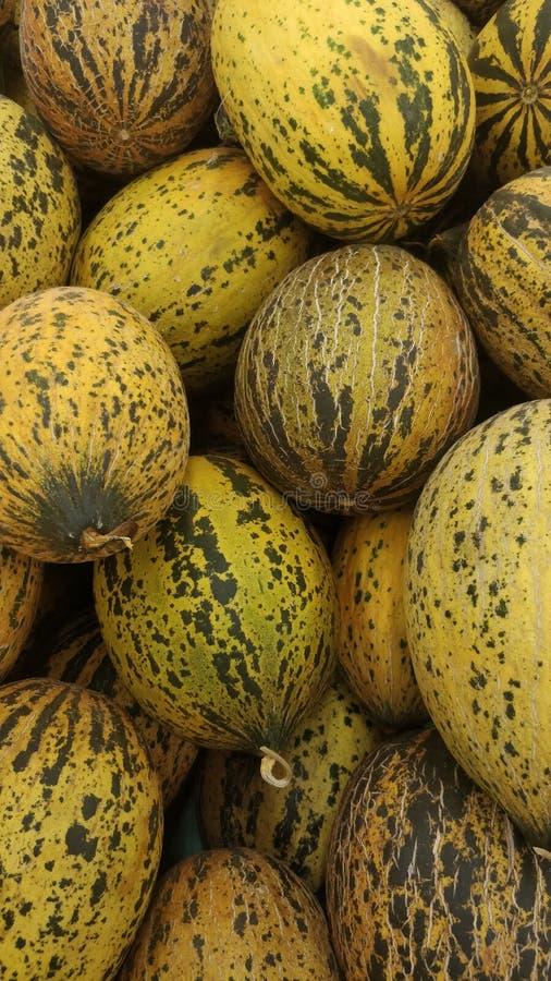 Melony uszeregowywający przy sklepem spożywczym zdjęcia stock
