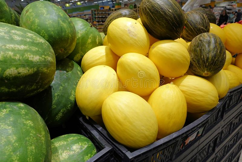 Melony w rynku, mn?stwo melony wielka ? obraz royalty free