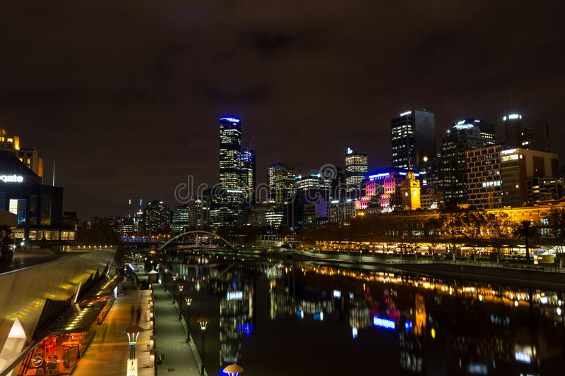 MELRBOURNE, Australia - May 2015. city skyline and Yarra River at night royalty free stock images