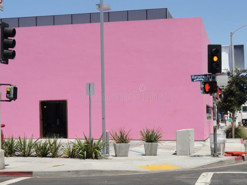Melrose cor-de-rosa avoirdupois Los Angeles da construção, CA fotos de stock royalty free