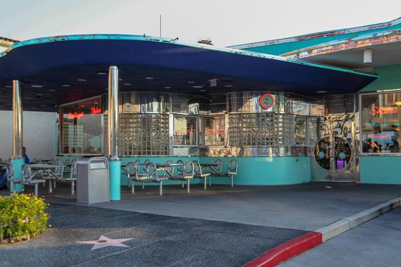 Mels DRIVE-IN, the facade of a modern American stock photo