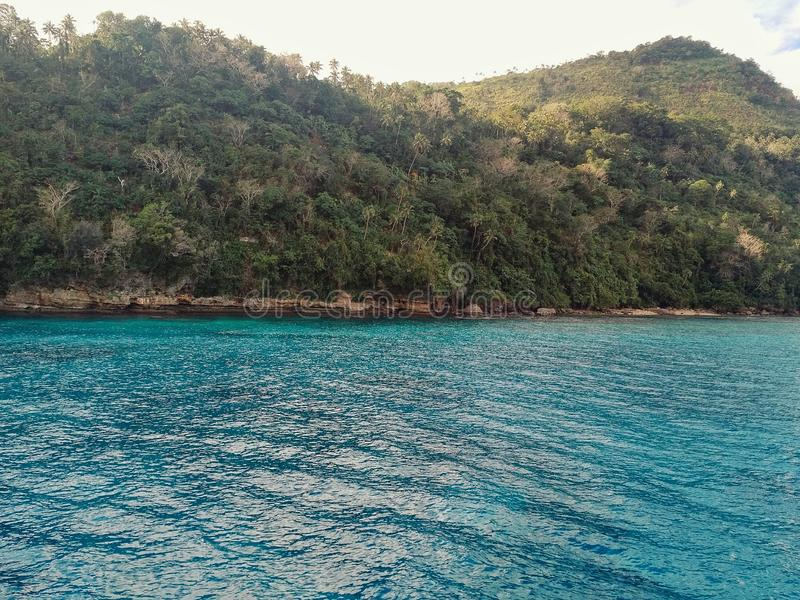 Melsisi村庄,彭特科斯特岛/瓦努阿图- 2016年7月9日:热带太平洋的岸从上面有豪华的雨林的 库存照片