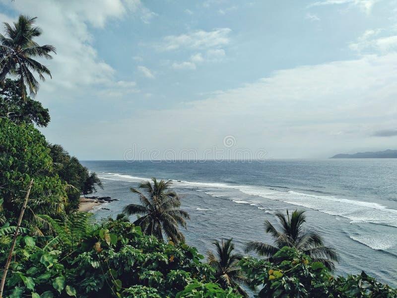 Melsisidorp, Pinkstereneiland/Vanuatu - 9 juli 2016: zwel hierboven het naderen van de kust bij de tropische vreedzame oceaan van stock foto