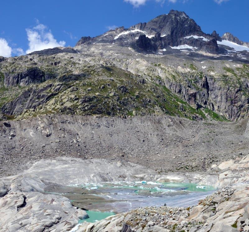 Melt för alpin glaciär