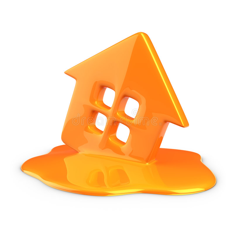 Melt of home. Melt of plastic home isolated vector illustration