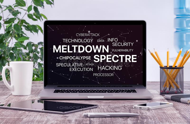Meltdown and spectre threat concept on laptop screen in office workplace stock photo