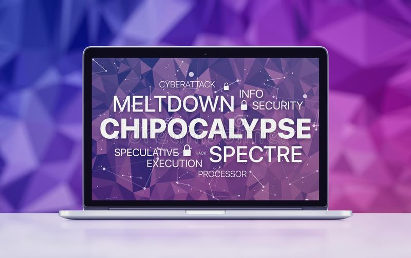 Meltdown and spectre threat concept on laptop screen on ultraviolet polygonal background stock image