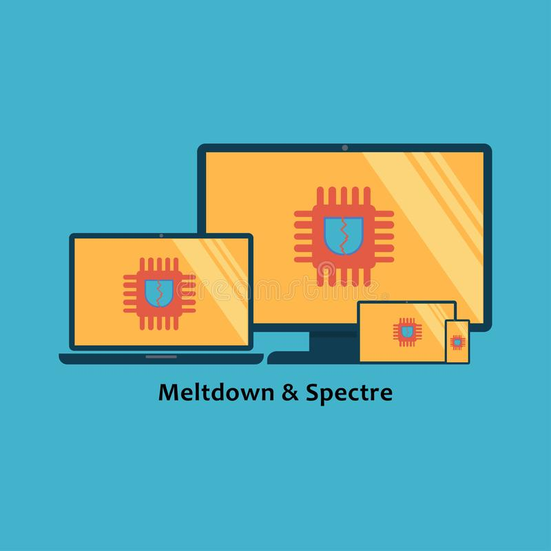 Meltdown and spectre vulnerability on computer family stock illustration