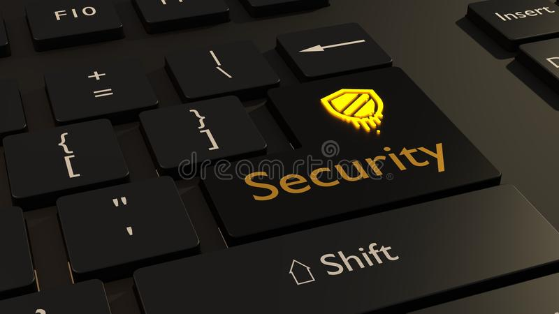 Meltdown symbol in yellow on black keyboard enter key cybersecurity concept royalty free stock photos