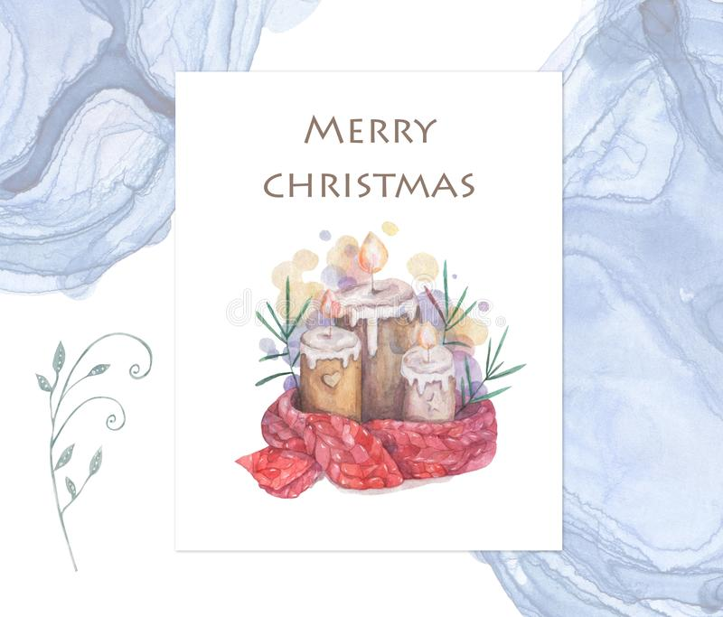 Christmas candle. Cartoon clip art illustration on isolated background. Watercolour imitation. Christmas poster or postcard design vector illustration