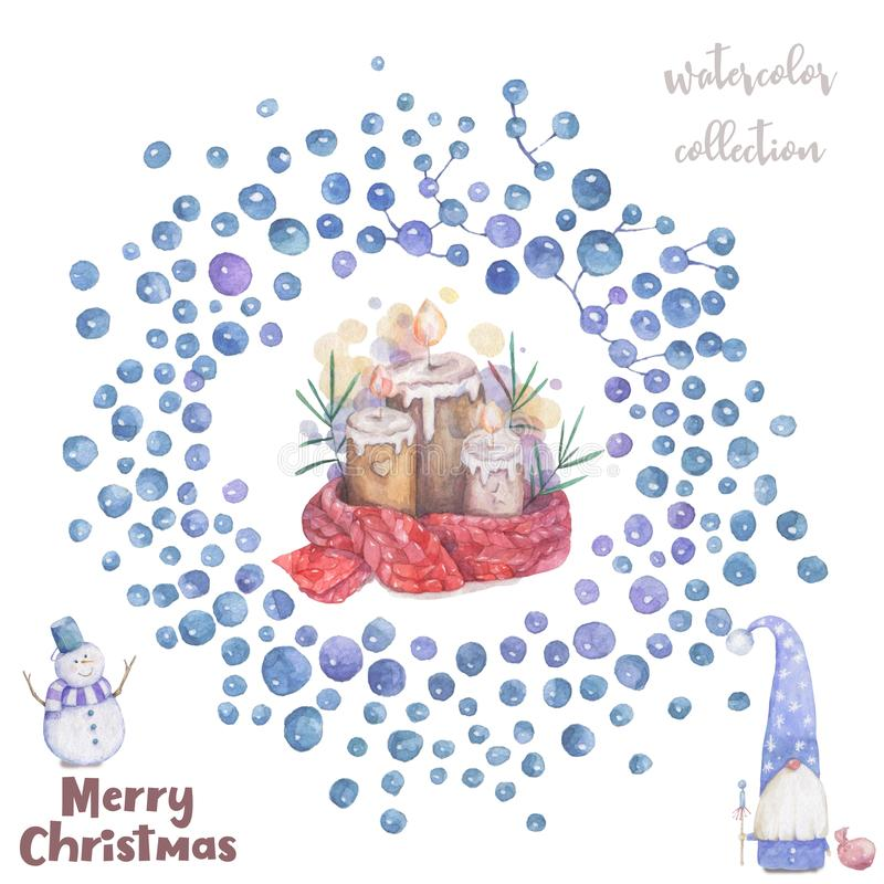 Christmas candle and bubble frame Cartoon clip art illustration on isolated background. Watercolour imitation. Christmas poster or stock illustration