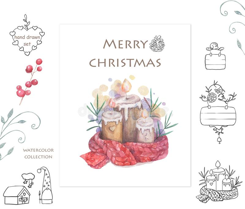 Christmas candle and doodle frame Cartoon clip art illustration on isolated background. Watercolour imitation. Christmas poster or stock illustration