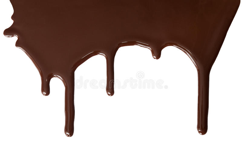 Melted chocolate dripping. Melted milk chocolate dripping down stock image