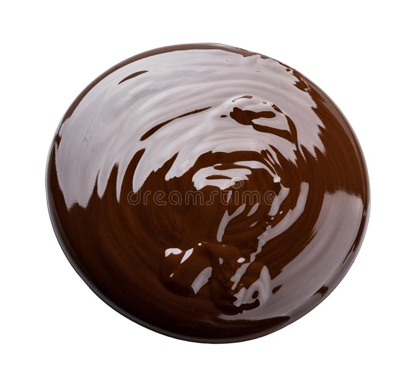 Melted chocolate. Isolated on white background with clipping pat stock photography