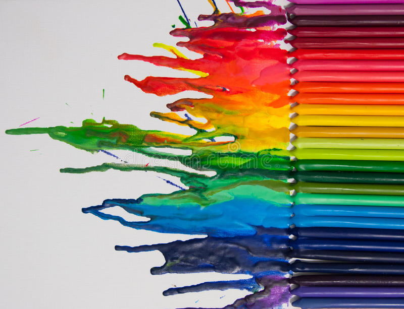Melted crayon art. On white canvas