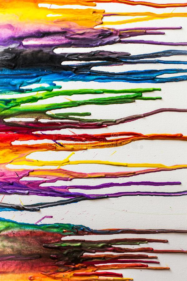Melted Crayons Colorful Abstract painted background on canvas royalty free stock image