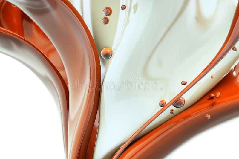 Melted hot chocolate and milk is pouring, abstract background 3d rendering. Melted hot chocolate and milk is pouring. Liquid Jet isolated on white background stock illustration