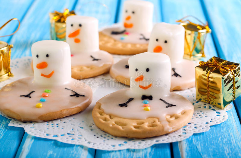 Melted snowman cookies stock photography