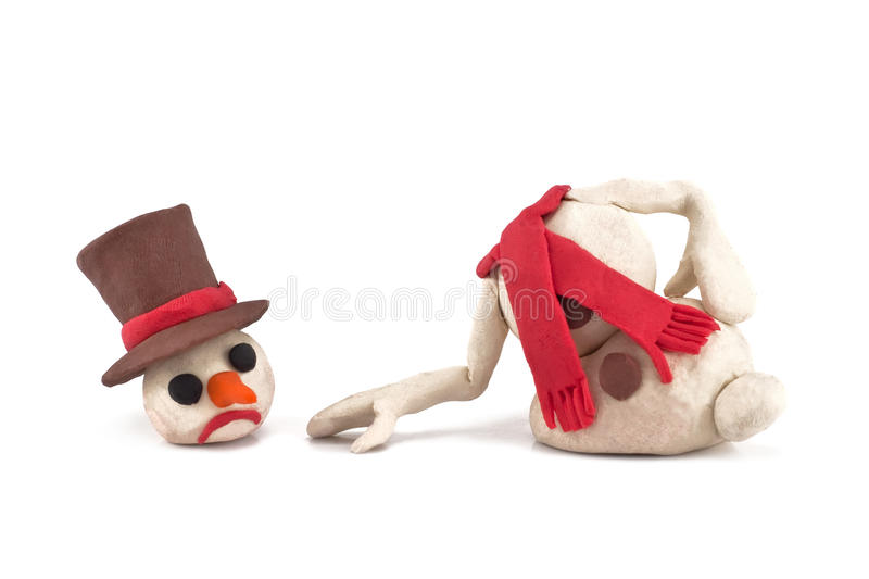 Melted snowman isolated on a white background royalty free stock images