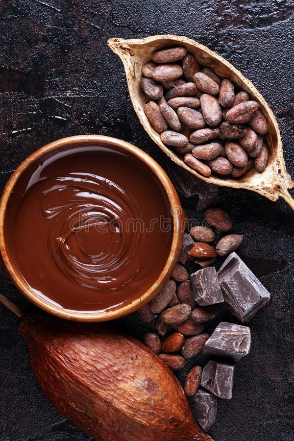Free Melting Chocolate, Melted Chocolate And Chocolate Swirl With Stack And Chips On Table Royalty Free Stock Images - 158452429