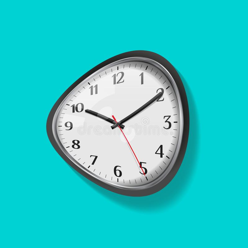 Melting clock, distorted dial with shadow on a blue background. Vector illustration royalty free illustration