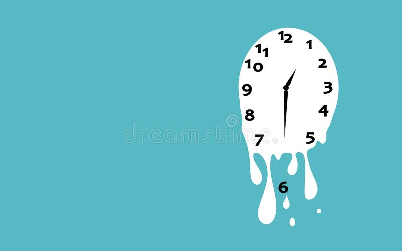 Melting clock flat design vector illustration on green background vector illustration