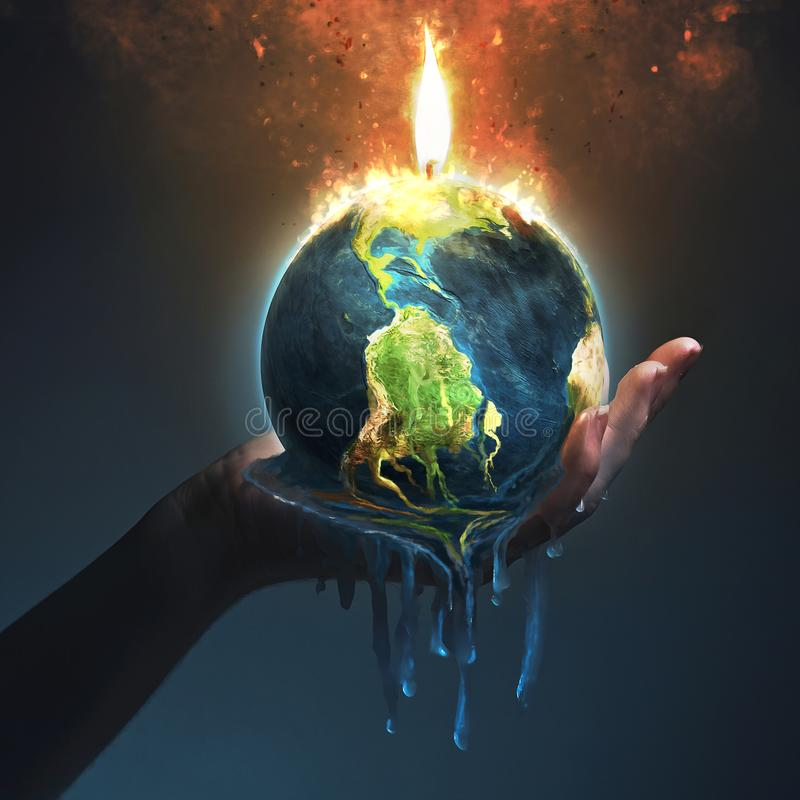 Melting earth in palm of hand stock photo