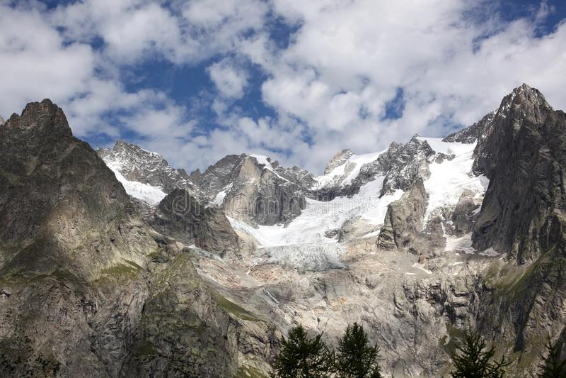 Melting glacier on italian alps royalty free stock photo