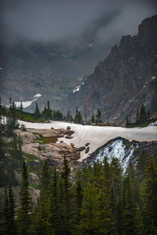 Melting Glacier Snow near lake Isabelle Vertical Composition. Melting snow below lake Isabelle Ward Colorado royalty free stock image