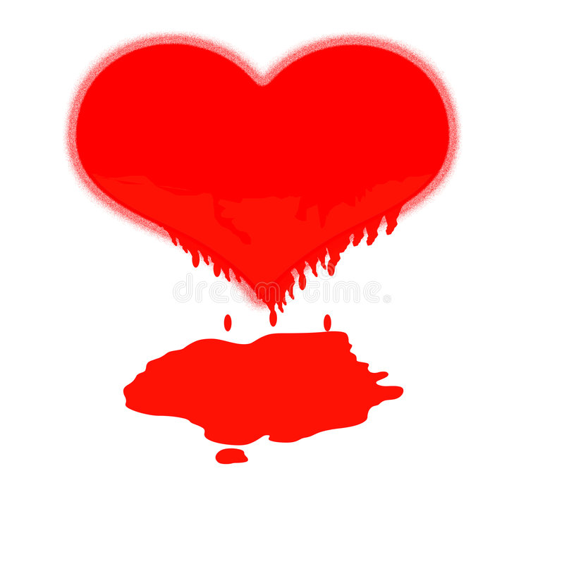 Melting heart. A heart melting in agony in a white background with a cruel blood flow stock illustration