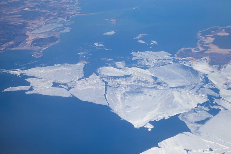 Melting ice. At Baltic Sea at spring time (April royalty free stock image