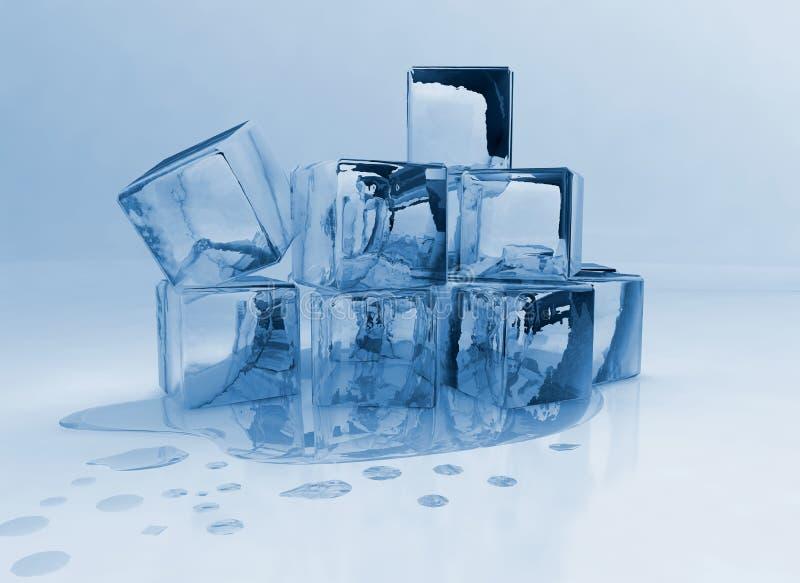 Melting ice cubes stock image