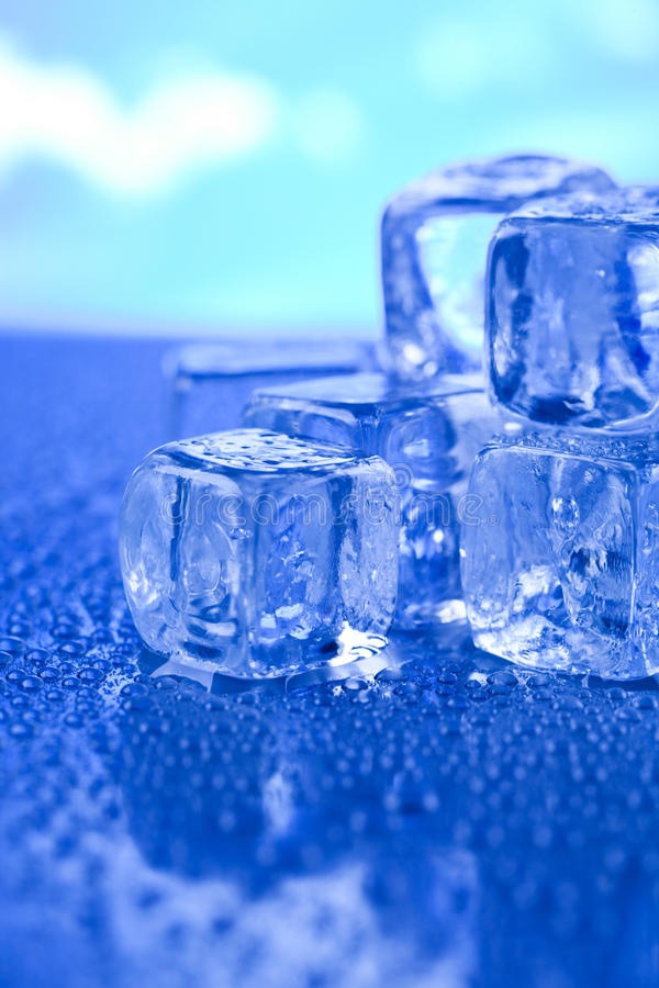 Melting ice cubes, cold and fresh concept.  stock image