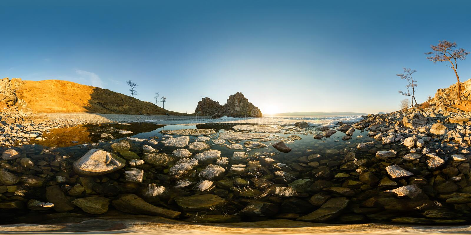 The melting ice of Lake Baikal near the cape shamanka Spherical panorama 360 180 degree stock images