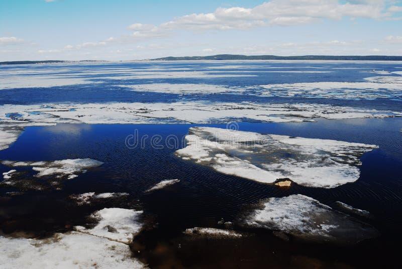 Melting ice on Lake Onega. In spring royalty free stock photos