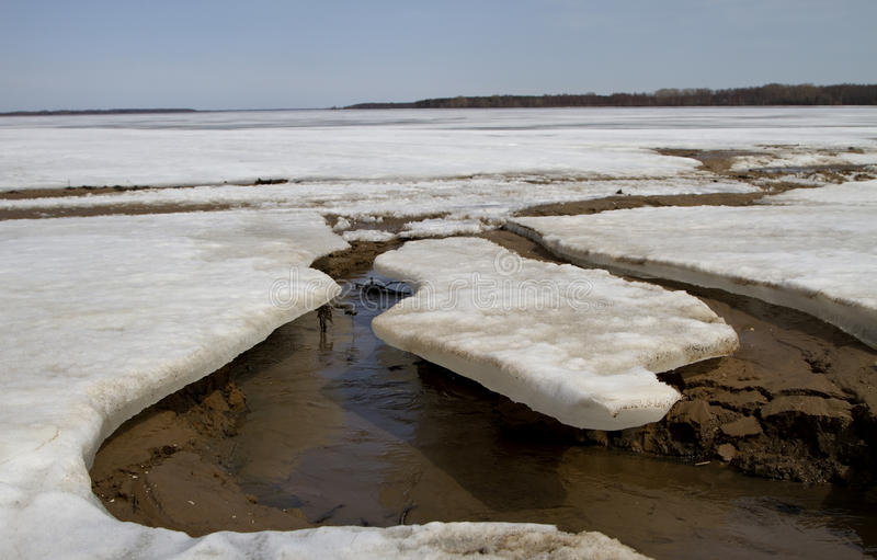 Melting ice on the river. Spring seasonal melting of ice on the river royalty free stock image