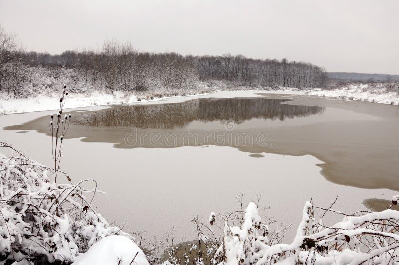 Melting iced lake stock photos