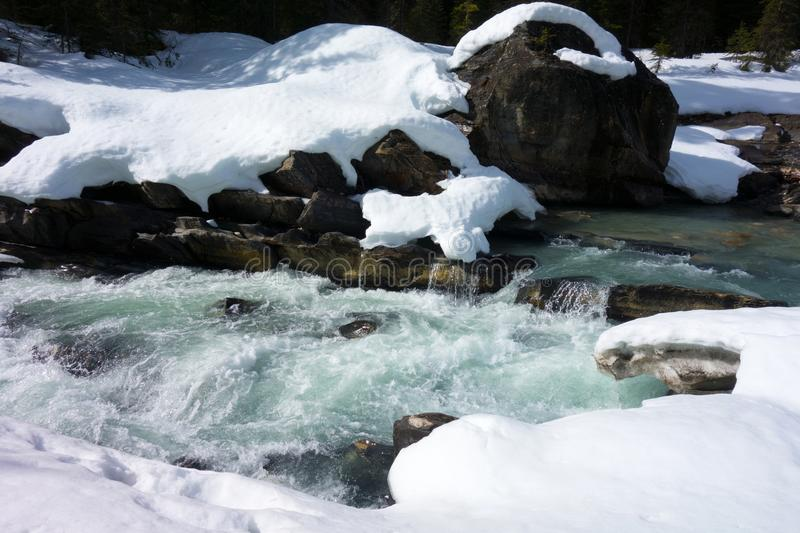 Melting snow and ice in northern canada. Mountain run-off as seen in the rocky mountains in the springtime stock images